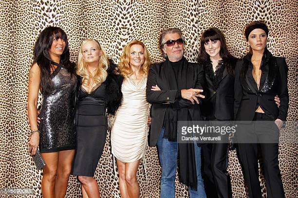 Singers Melanie Brown, Emma Bunton, Geri Halliwell, Melanie Chisholm and Victoria Beckham of Spice Girls and designer Roberto Cavalli attend the...