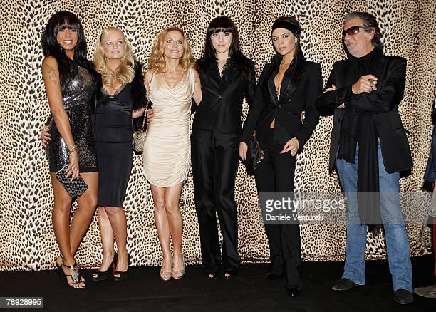 Singers Melanie Brown Emma Bunton Geri Halliwell Melanie Chisholm and Victoria Beckham of Spice Girls and designer Roberto Cavalli attend the Roberto...
