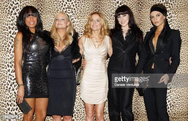 Singers Melanie Brown Emma Bunton Geri Halliwell Melanie Chisholm and Victoria Beckham of Spice Girls attend the Roberto Cavalli Menswear...