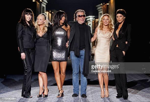 Singers Melanie Chisholm, Emma Bunton, Melanie Brown, designer Roberto Cavalli, singers Geri Halliwell, and Victoria Beckham attend the Roberto...