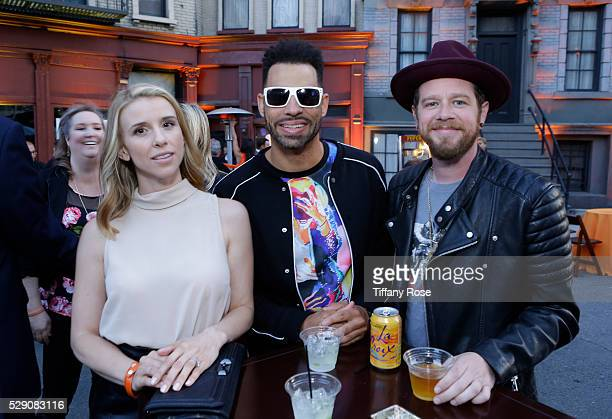 Singers Melissa Schuman Trevor Penick and Dan Miller attend Lupus LA's Orange Ball A Night Of Superheroes at FOX Studios on May 7 2016 in Los Angeles...