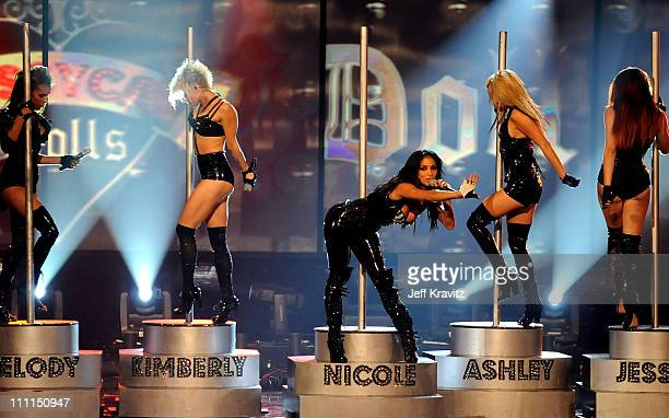 Singers Melody Thornton Kimberly Wyatt Nicole Scherzinger Ashley Roberts and Jessica Sutta of The Pussycat Dolls onstage during the 2008 American...