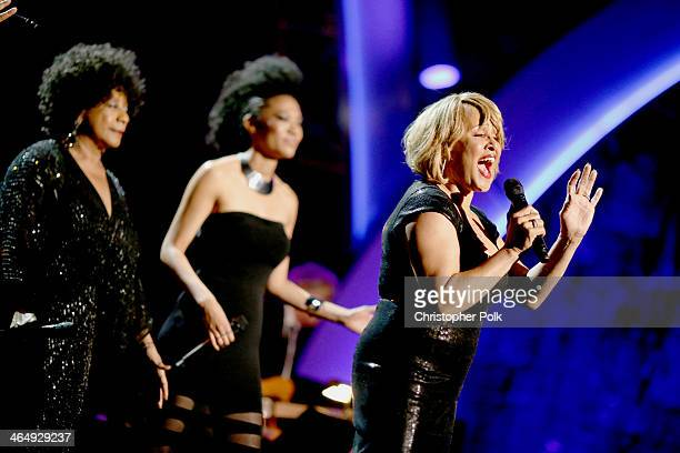 Singers Merry Clayton Judith Hill and Darlene Love perform onstage at 2014 MusiCares Person Of The Year Honoring Carole King at Los Angeles...