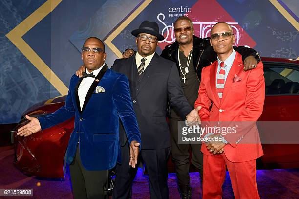 Singers Michael Bivins Bobby Brown Ronnie DeVoe and Ricky Bell of New Edition attend the 2016 Soul Train Music Awards at the Orleans Arena on...