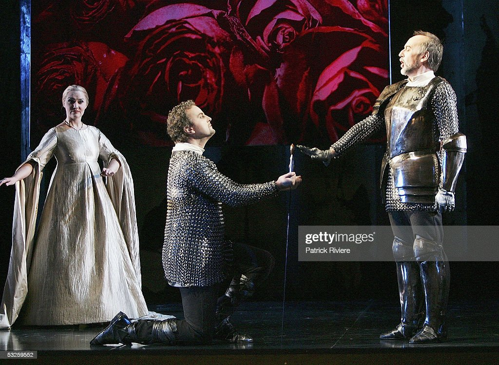 Singers Michael Chance (Rinaldo) (C), Emma Matthews (Alminera) and Graham Pushee (Goffredo) perform during a dress rehearsal of Handel's 'Rinaldo' at the Opera House on July 19, 2005 in Sydney, Australia.