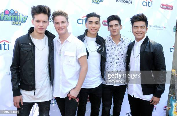Singers Michael Conor Brady Tutton Drew Ramos Chance Perez and Sergio Calderon of boy band In Real Life attend TJ Martell Foundation Family Day at...