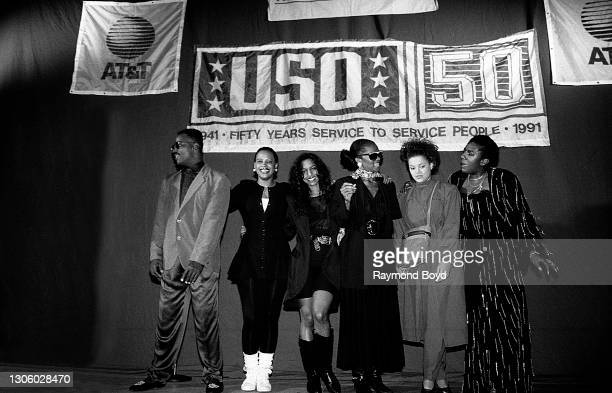 Singers Michael Cooper, Lisa Frazier, Kathy Merrick and Vivian Ross of Lace , Stacy Lattisaw and Alyson Williams prepare to take a bow after the...