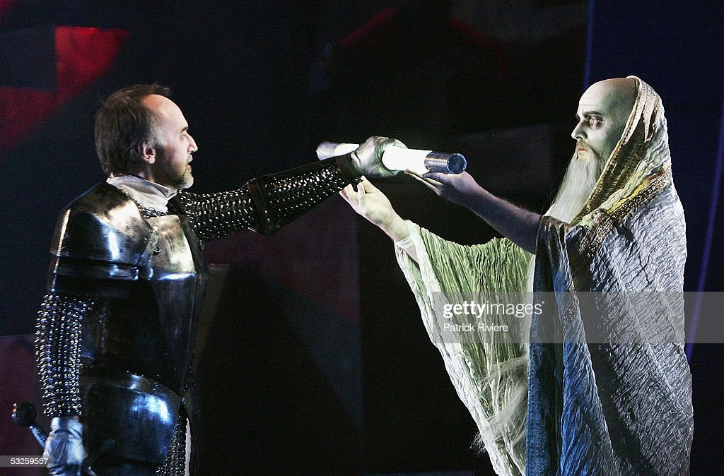 Singers Michael Graham Pushee (Goffredo) (L) and Richard Anderson (Magic Christian) perform during a dress rehearsal of Handel's 'Rinaldo' at the Opera House on July 19, 2005 in Sydney, Australia.