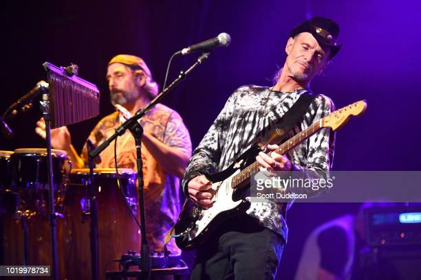 Musicians Dave Meros and Martin Gerschwitz of the classic rock band Iron Butterfly perform onstage at The Canyon on August 19 2018 in Agoura Hills...