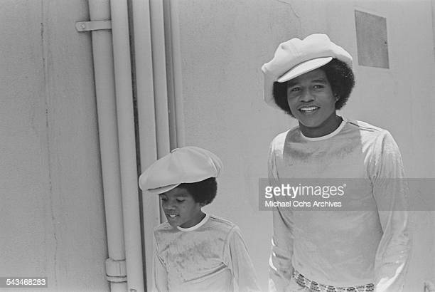 Singers Michael Jackson and his brother Jermaine of American pop group The Jackson 5 at ABCTV studios California 9th July 1971 The Jacksons are...