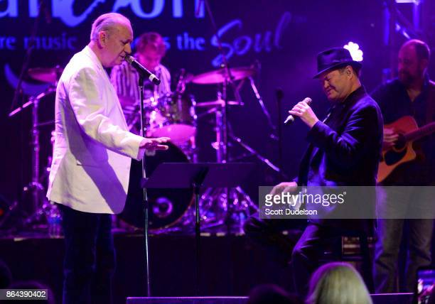 Singers Michael Nesmith and Micky Dolenz of The Monkees perform onstage at The Canyon Club on October 20 2017 in Agoura Hills California