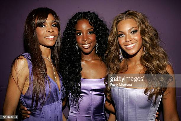 Singers Michelle Williams Kelly Rowland and Beyonce Knowles of Destiny's Child pose backstage at the BET Awards 05 at the Kodak Theatre on June 28...