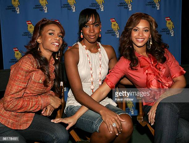 Singers Michelle Williams Kelly Rowland and Beyonce Knowles of Destiny's Child pose at the 2005 World Children's Day at the McDonalds Los Angeles...