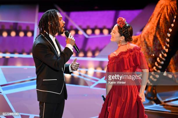 Singers Miguel and Natalia Lafourcade perform onstage during the 90th Annual Academy Awards at the Dolby Theatre at Hollywood Highland Center on...
