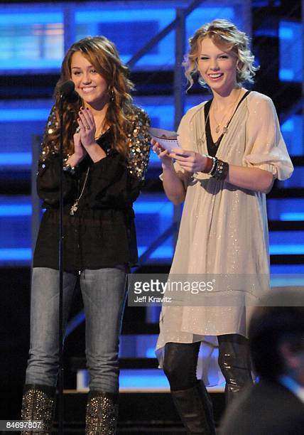 Singers Miley Cyrus and Taylor Swift onstage at the 51st Annual GRAMMY Awards held at the Staples Center on February 8 2009 in Los Angeles California
