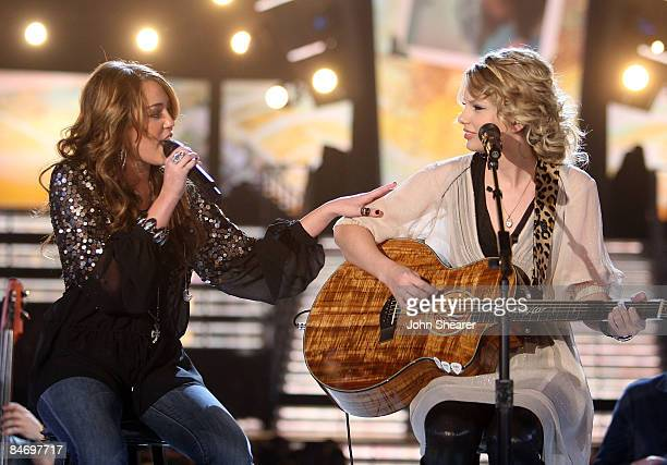 Singers Miley Cyrus and Taylor Swift performing onstage at the 51st Annual GRAMMY Awards held at the Staples Center on February 8 2009 in Los Angeles...
