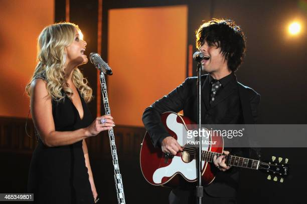 Singers Miranda Lambert and Billy Joe Armstrong perform at the 56th GRAMMY Awards at Staples Center on January 26 2014 in Los Angeles California