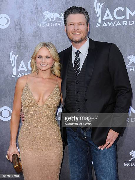 Singers Miranda Lambert and Blake Shelton arrive at the 49th Annual Academy of Country Music Awards at the MGM Grand Hotel and Casino on April 6 2014...