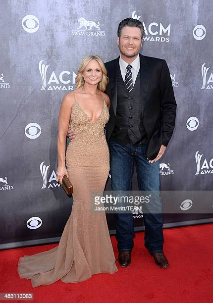 Singers Miranda Lambert and Blake Shelton attend the 49th Annual Academy Of Country Music Awards at the MGM Grand Garden Arena on April 6 2014 in Las...