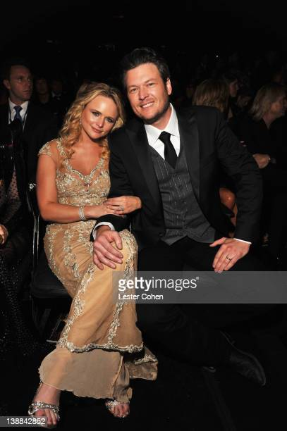 Singers Miranda Lambert and Blake Shelton attend The 54th Annual GRAMMY Awards at Staples Center on February 12 2012 in Los Angeles California