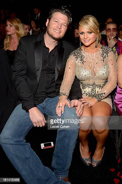 Singers Miranda Lambert and Blake Shelton attend the 55th Annual GRAMMY Awards at STAPLES Center on February 10 2013 in Los Angeles California