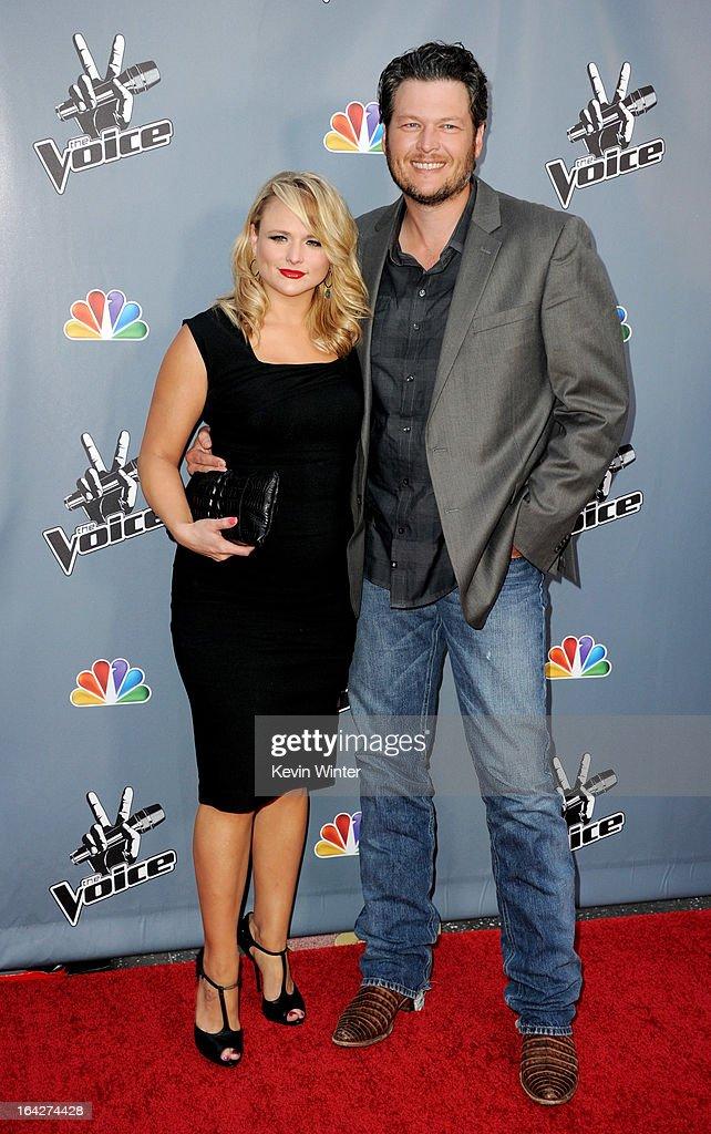 Singers Miranda Lambert and her husband Blake Shelton arrive