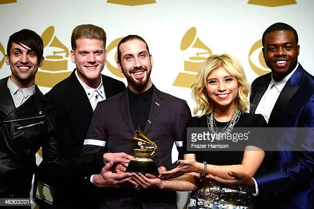 Singers Mitch Grassi Scott Hoying Avi Kaplan Kirstie Maldonado and Kevin Olusola of Pentatonix winners of Best Arrangement Instrumental or a Cappella...