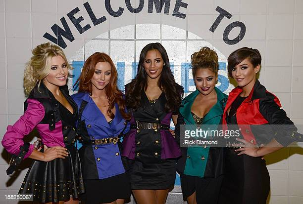 Singers Mollie King Una Healy Rochelle Humes Vanessa White and Frankie Sandford of The Saturdays pose backstage at Power 961's Jingle Ball 2012 at...