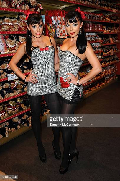 Singers Monica Irimia and Gabriela Irimia of The Cheeky Girls attend the launch of iPod skins by Wrappz in aid of Children In Need at Hamleys on...