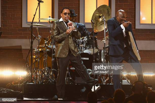 Singers Morris Day and dancer Jerome Benton of the Time performs a tribute to the late Prince onstage during The 59th GRAMMY Awards at STAPLES Center...