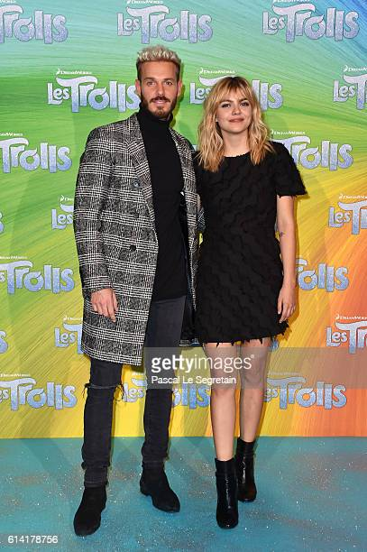 """Singers M.Pokora and Louane Emera attend """"Les Trolls"""" Premiere at Le Grand Rex on October 12, 2016 in Paris, France."""