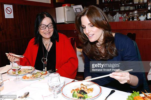 Singers Nana Mouskouri and her daughter Lenou Petsilas have lunch in a Chinese Restaurant whyle Nana Mouskouri's Happy Birthday Tour on March 10 2014...