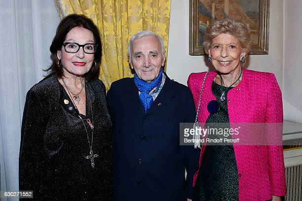"""Singers Nana Mouskouri, Charles Aznavour and Permanent Secretary of """"Academie Francaise"""" Helene Carrere d'Encausse attend Nana Mouskouri gives the..."""