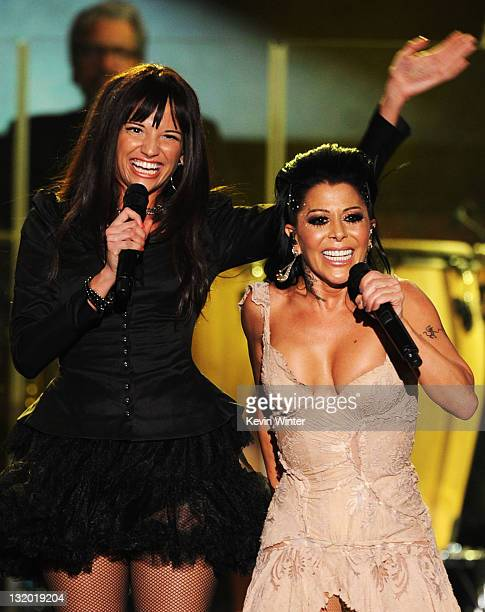 Singers Natalia Jimenez and Alejandra Guzman perform onstage at the 2011 Latin Recording Academy Person Of The Year Honoring Shakira held at the...