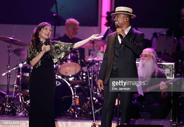 Singers Natalia Lafourcade and Alexandre Pires perform onstage during the 2012 Latin Recording Academy Person Of The Year honoring Caetano Veloso at...