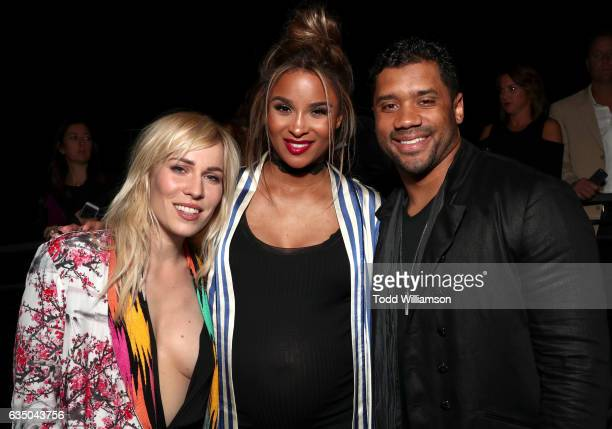 Singers Natasha Bedingfield Ciara and NFL player Russell Wilson attend the Warner Music Group GRAMMY Party at Milk Studios on February 12 2017 in...