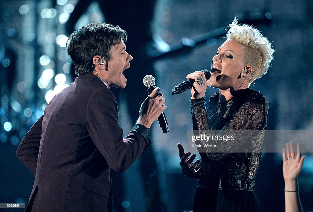 Singers Nate Ruess and Pink onstage during the 56th GRAMMY Awards at Staples Center on January 26, 2014 in Los Angeles, California.
