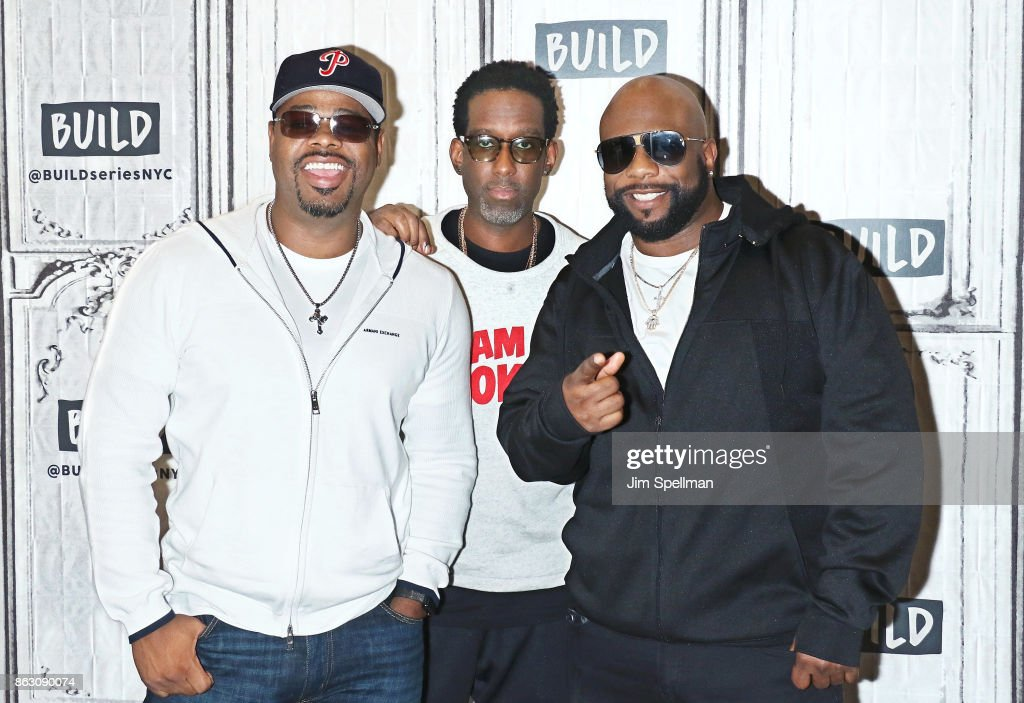 Singers Nathan Morris, Shawn Stockman and Wanya Morris of Boyz II Men attend Build to discuss their album 'Under the Streetlight' at Build Studio on October 19, 2017 in New York City.