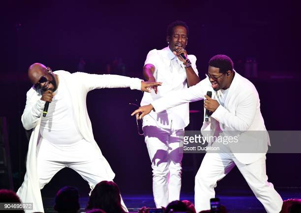 Singers Nathan Morris Shawn Stockman and Wanya Morris of the RB group Boyz II Men perform onstage at Microsoft Theater on January 13 2018 in Los...