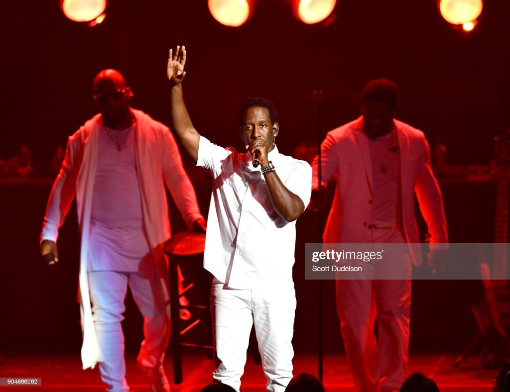 Singers Nathan Morris, Shawn Stockman and Wanya Morris of the R&B group Boyz II Men perform onstage at Microsoft Theater on January 13, 2018 in Los Angeles, California.
