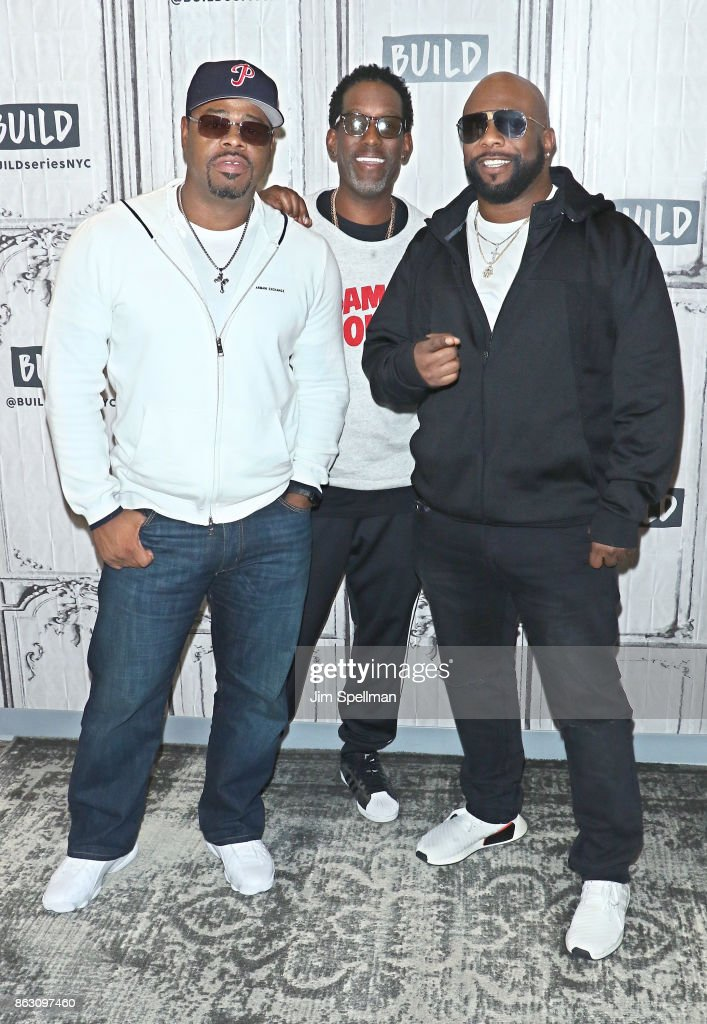 Singers Nathan Morris, Wanya Morris and Shawn Stockman of Boyz II Men attend Build to discuss their album 'Under the Streetlight' at Build Studio on October 19, 2017 in New York City.