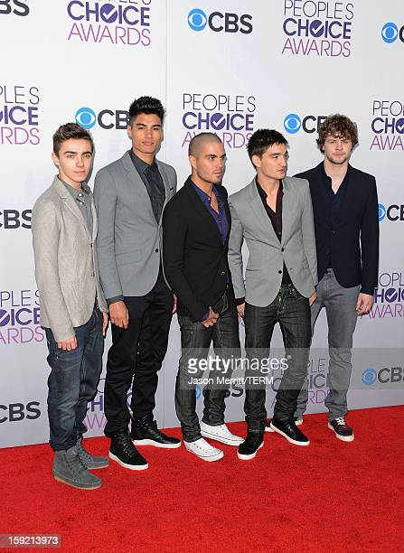 Singers Nathan Sykes Siva Kaneswaran Max George Tom Parker and Jay McGuiness of The Wanted attend the 39th Annual People's Choice Awards at Nokia...