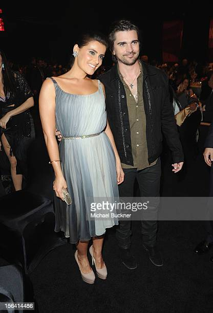 Singers Nelly Furtado and Juanes pose during the 2012 Person of the Year honoring Caetano Veloso at the MGM Grand Garden Arena on November 14 2012 in...