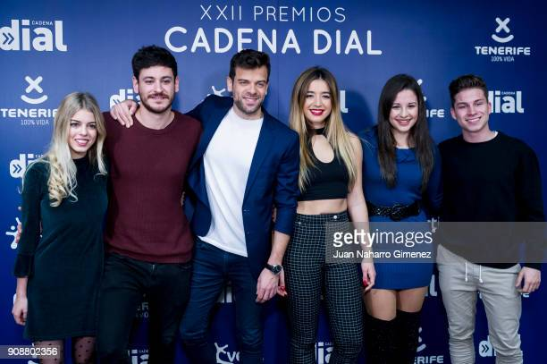 OT singers Nerea Cepeda Ricky Mimi Thalia and Raul attend Cadena Dial Awards presentation on January 22 2018 in Madrid Spain