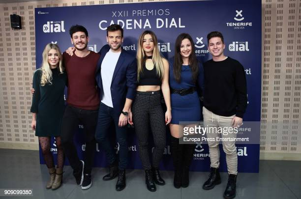 OT singers Nerea Cepeda Ricky Mimi Thalia and Raul attend Cadena Dial Awards press conference on January 22 2018 in Madrid Spain