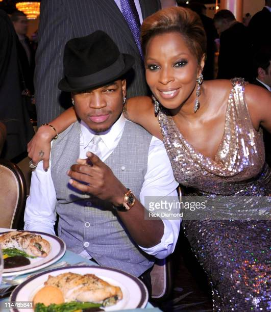 Singers Neyo and Mary J Blige attend the 52nd Annual GRAMMY Awards Salute To Icons Honoring Doug Morris held at The Beverly Hilton Hotel on January...