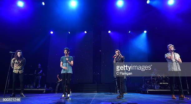 Singers Niall Horan Liam Payne Harry Styles and Louis Tomlinson of One Direction perform during the 6th Annual 997 NOW Triple Ho Show at SAP Center...