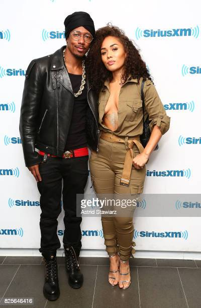 Singers Nick Cannon and Kreesha Turner visit the SiriusXM Studios on August 2 2017 in New York City