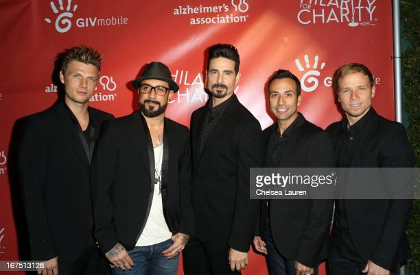 Singers Nick Carter, A. J. McLean, Kevin Richardson, Howie Dorough, and Brian Littrell of the Backstreet Boys attends the Second Annual Hilarity For...