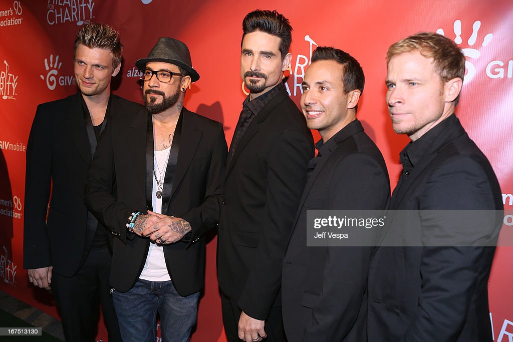 Singers Nick Carter, A. J. McLean, Kevin Richardson, Howie Dorough, and Brian Littrell of the Backstreet Boys attends the Second Annual Hilarity For Charity benefiting The Alzheimer's Association at the Avalon on April 25, 2013 in Hollywood, California.